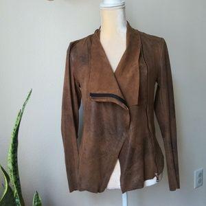 Zara woman draped faux suede brown zip jacket S